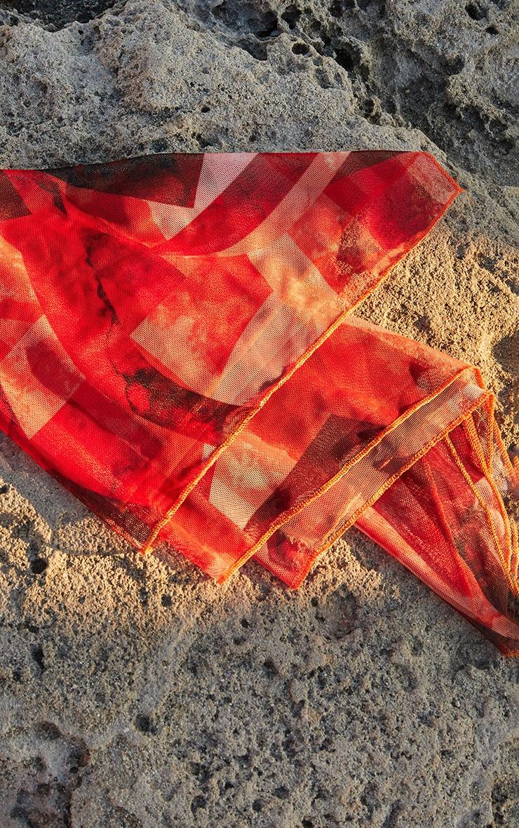 Orange Abstract Print Mesh Bandana 3