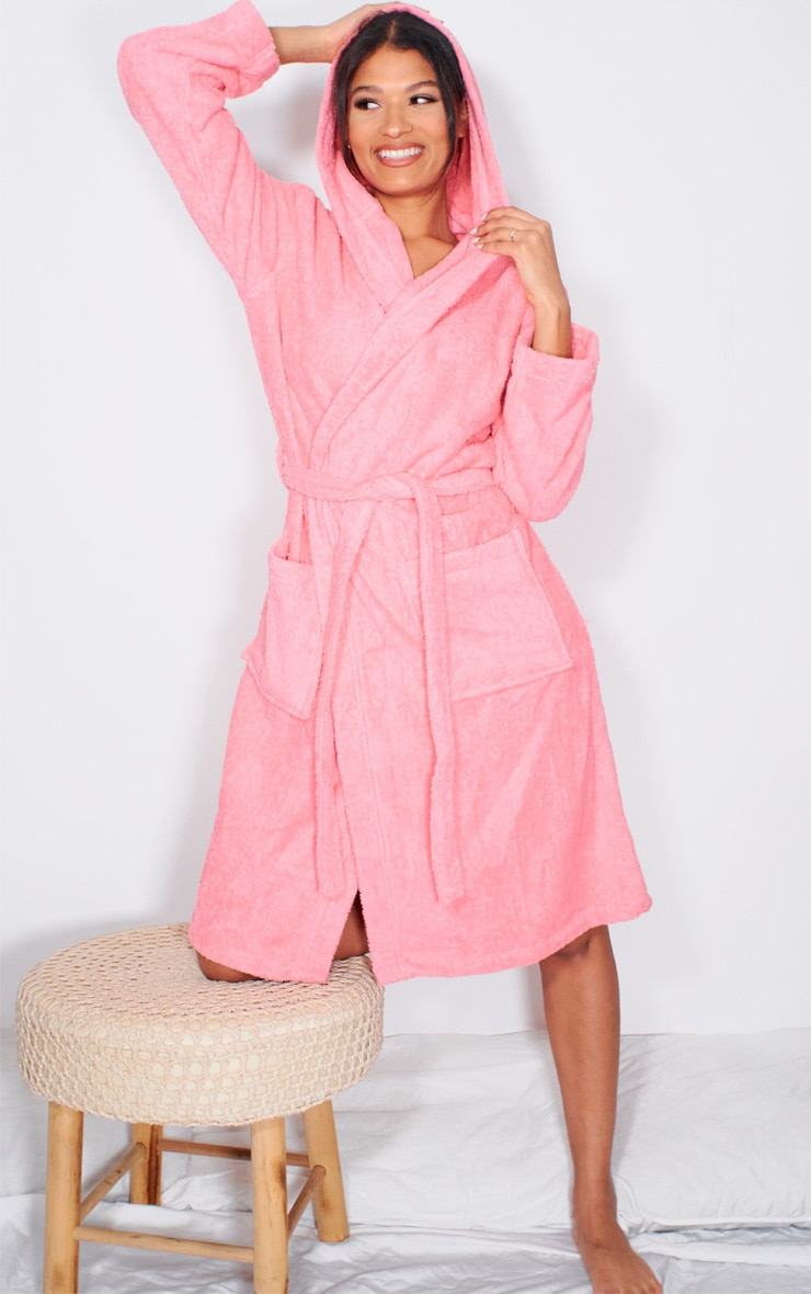 Pink Hooded Towelling Dressing Gown 1