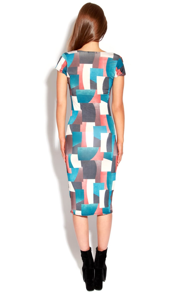 Adele Multicoloured Square Midi Dress 3
