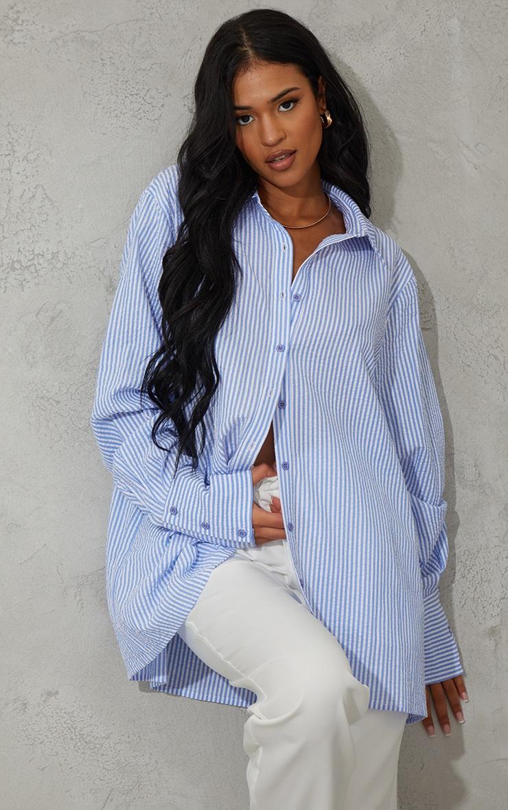 Tall Blue Stripe Oversized Cuff Shirt 1