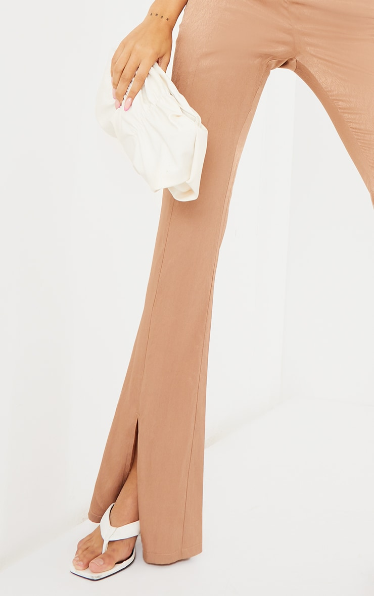 Stone Woven Split Hem Flared Trousers 4