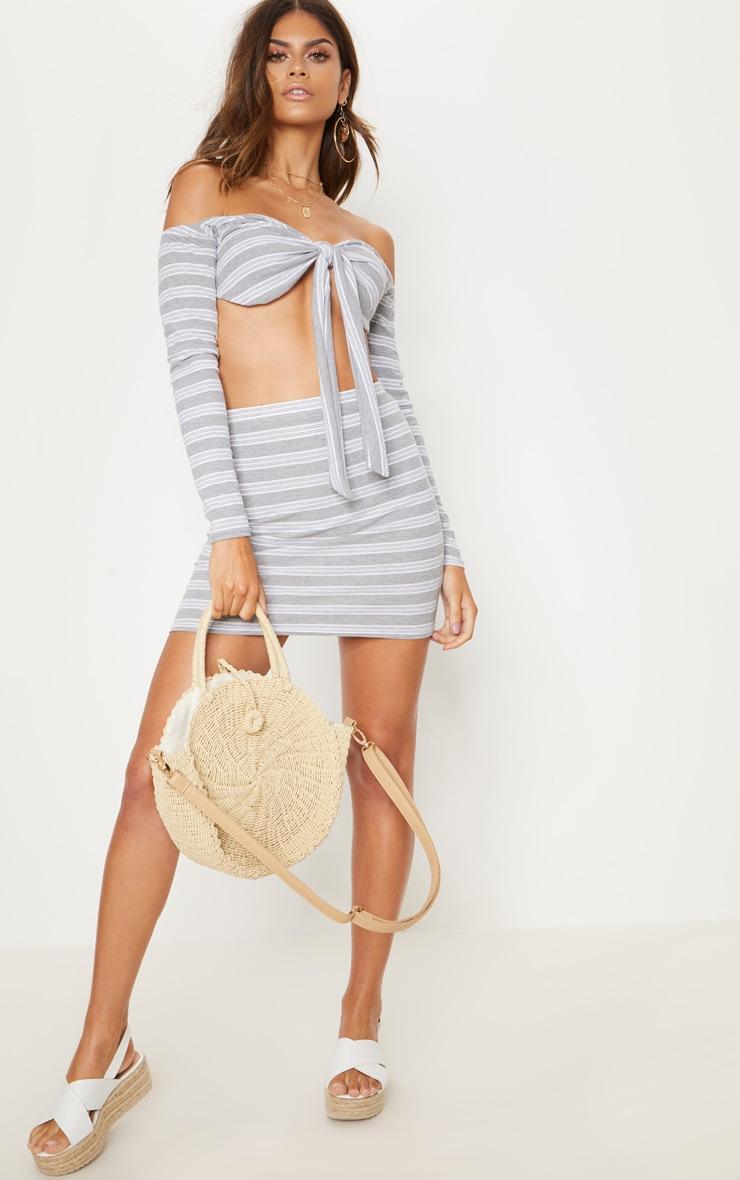 Pale Grey Ribbed Stripe Mini Skirt 5