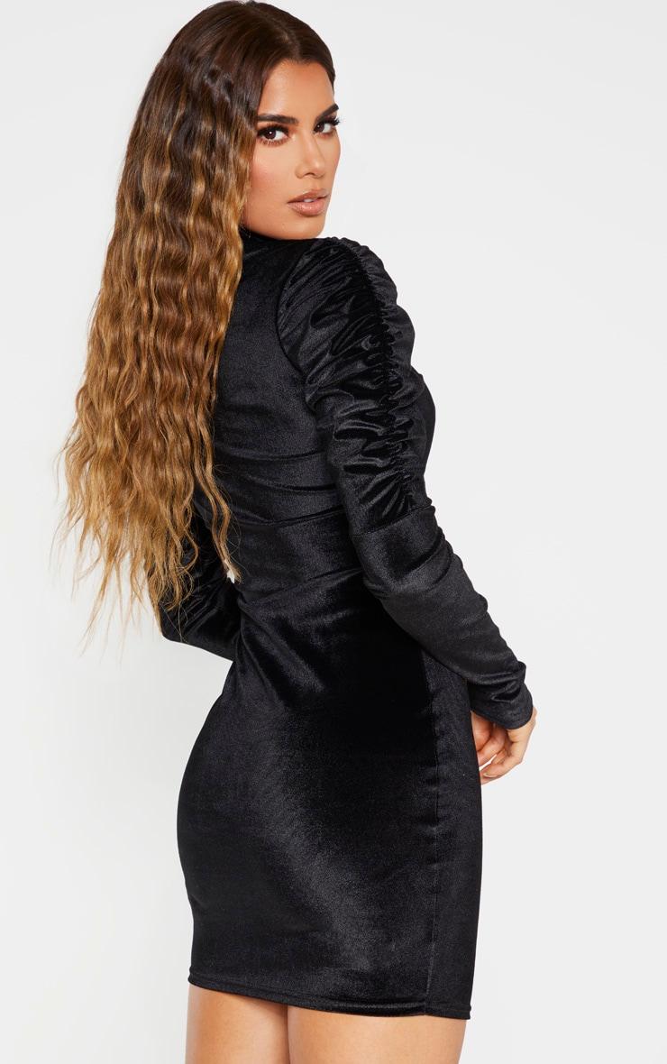 Tall Black Velvet Puff Sleeve Mini Dress  2