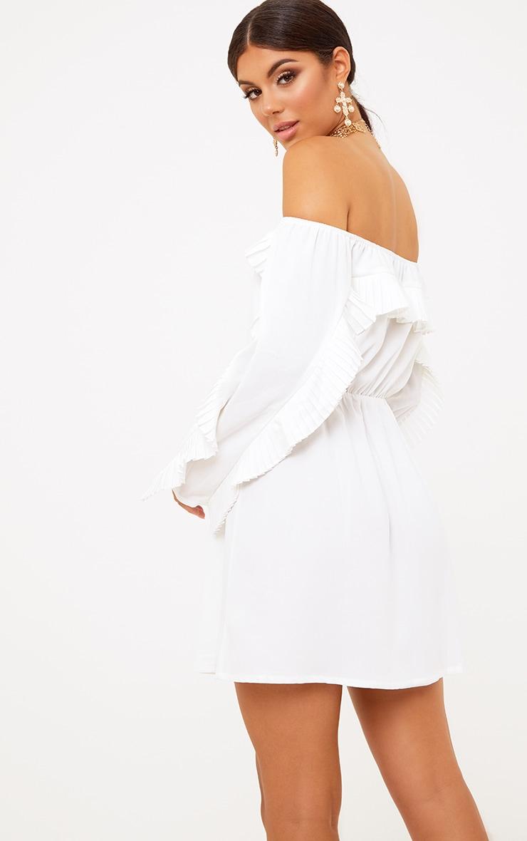 White Pleat Detail Ruched Waist Swing Dress 4
