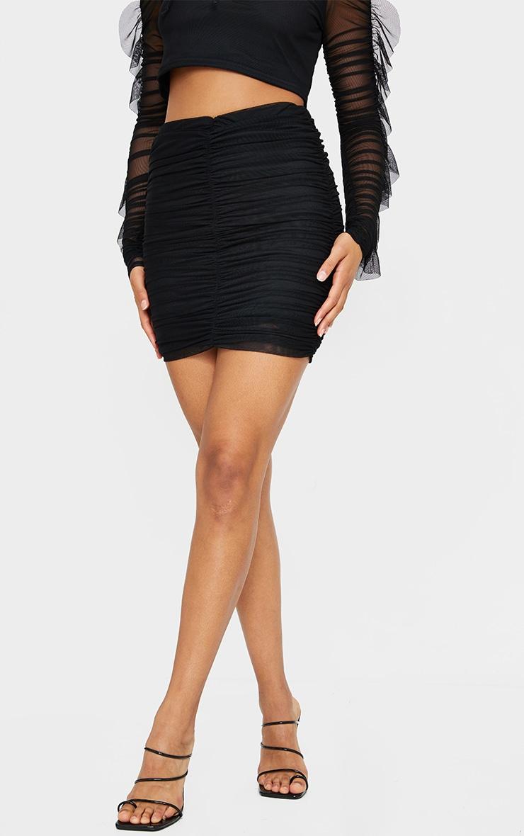 Black Mesh Layered Seam Front Ruched Mini Skirt 2