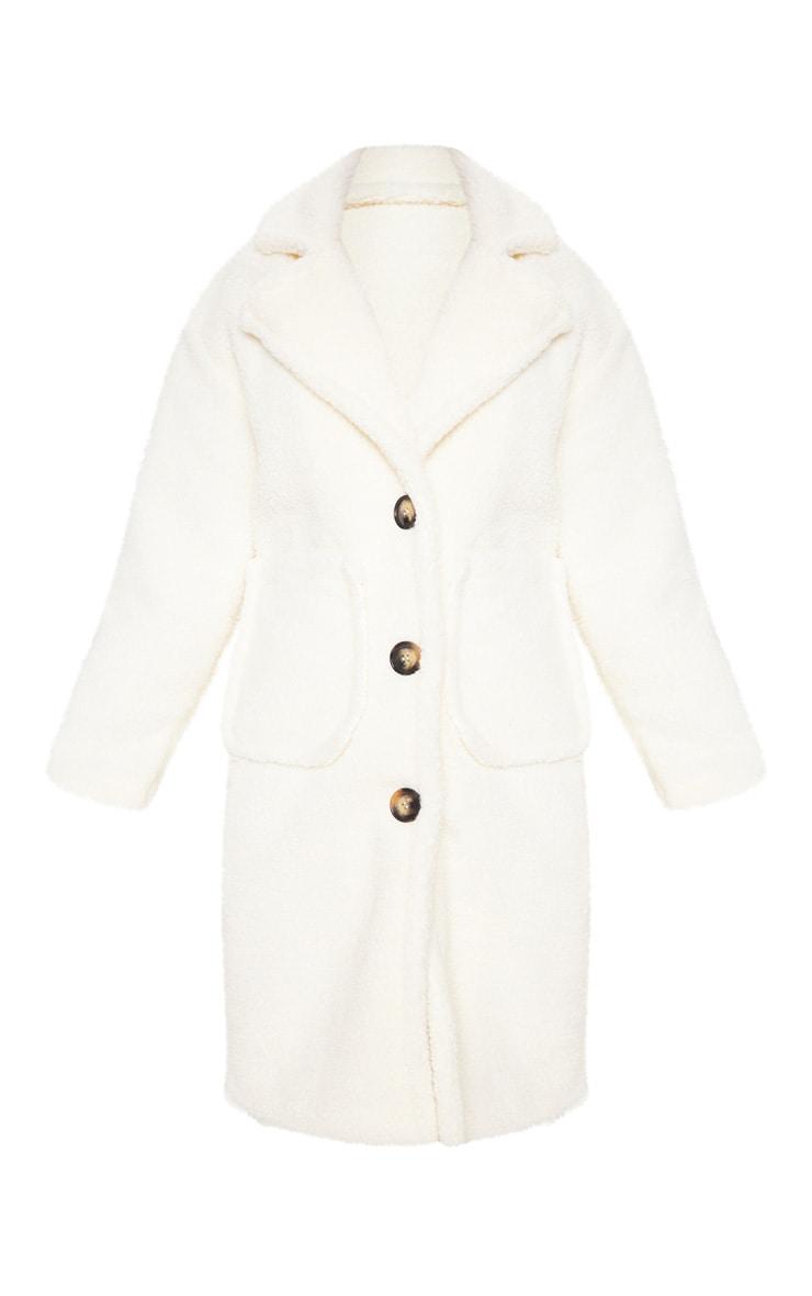 Cream Borg Longline Coat 3