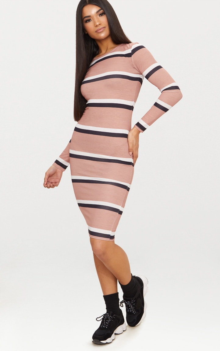 Nude Striped Long Sleeve Midi Dress 4