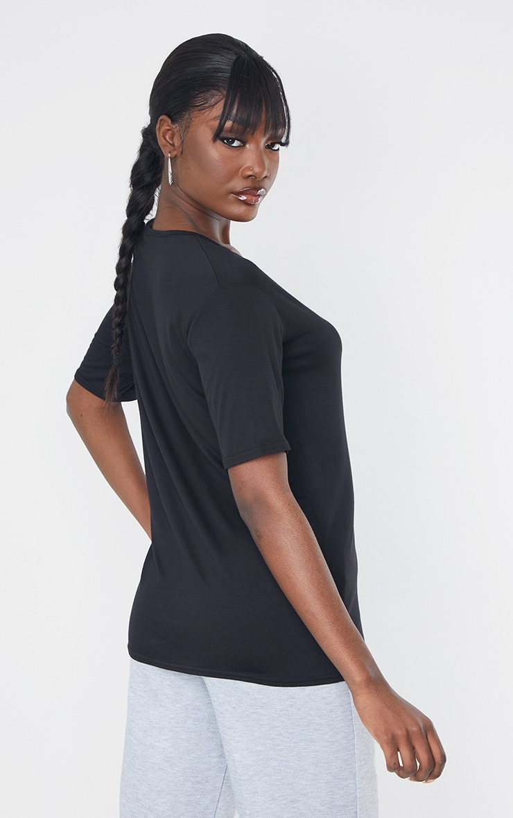 Tall Black Basic V Neck T shirt 2