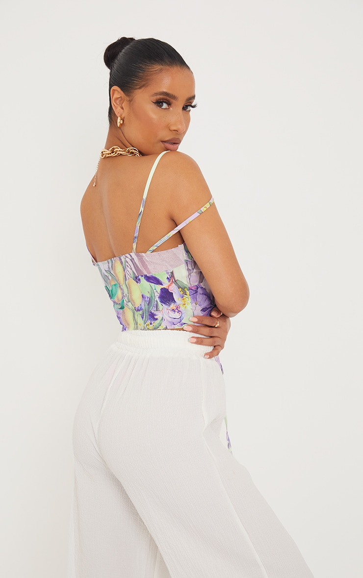 Lilac Printed Linen Look Raw Edge Lace Up Strappy Crop Top 2