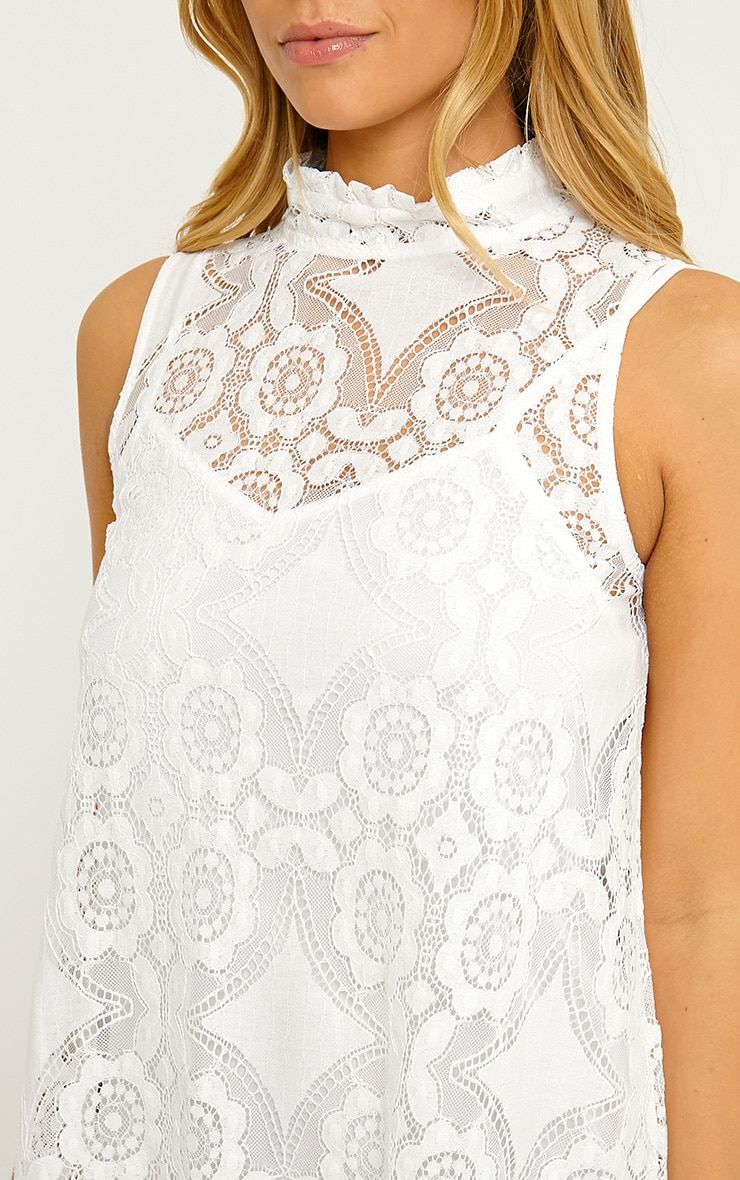 Kelsey White Lace Shift Dress 5
