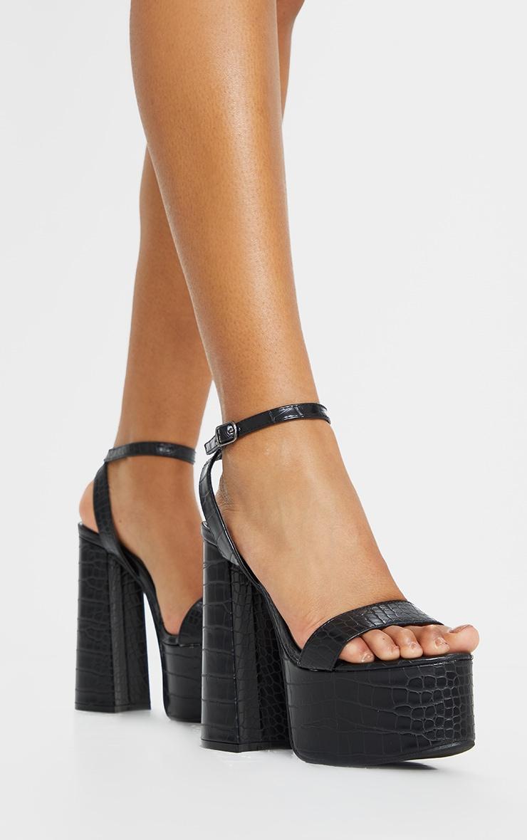 Black Croc Chunky Platform Heels 2