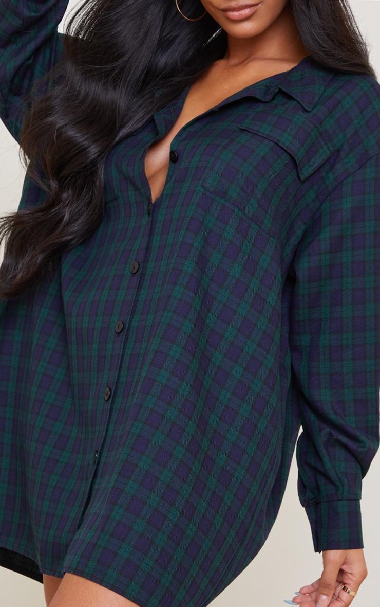 Navy Check Print Double Pocket Detail Shirt Dress 4