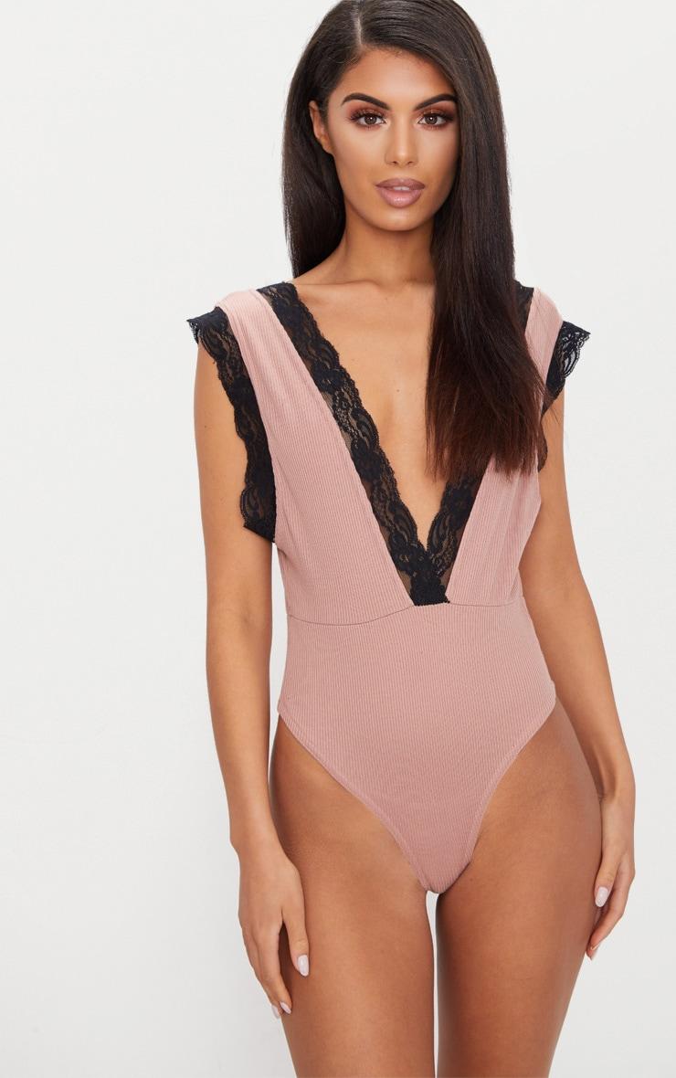 Rose Rib Lace Trim Plunge Thong Bodysuit  2