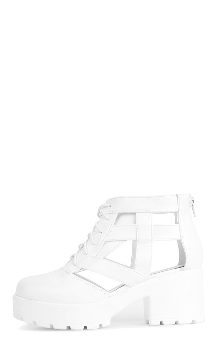 Nita White Cut Out Chunky Lace Up Boots 1