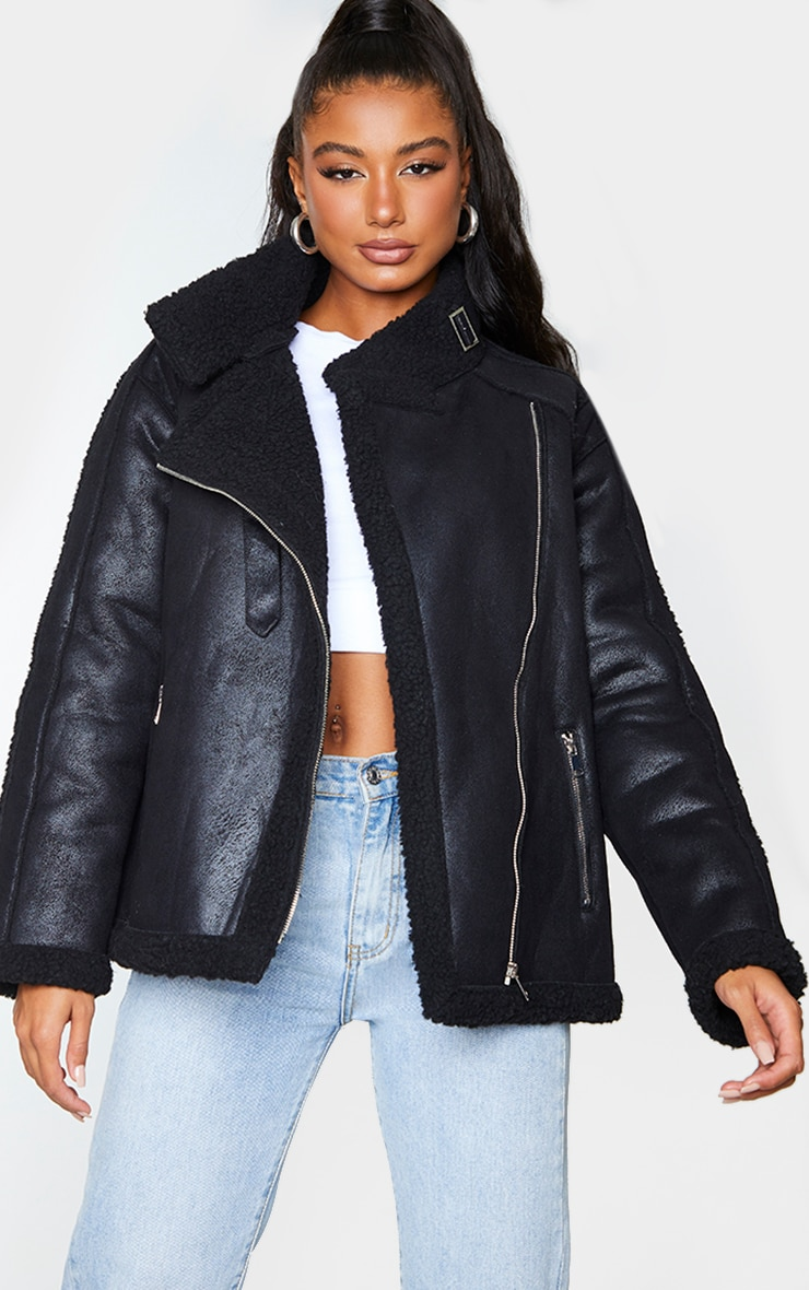 Black Hammered Faux Suede Buckle Collar Aviator Jacket 1