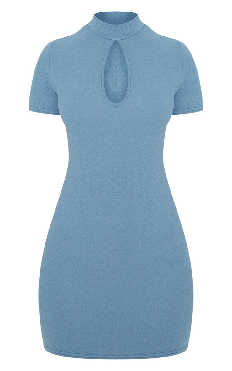 Blue Short Sleeve Key Hole Cut Out Bodycon Dress 3