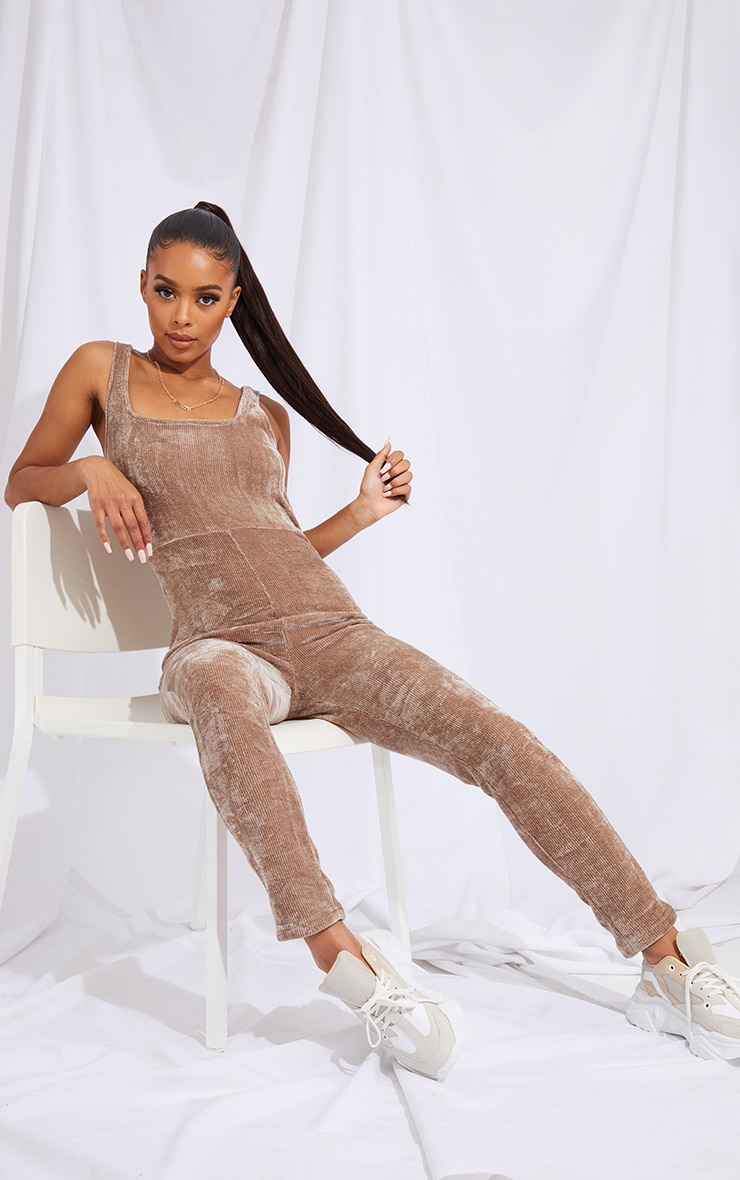 Mocha Ribbed Velour Square Neck Jumpsuit