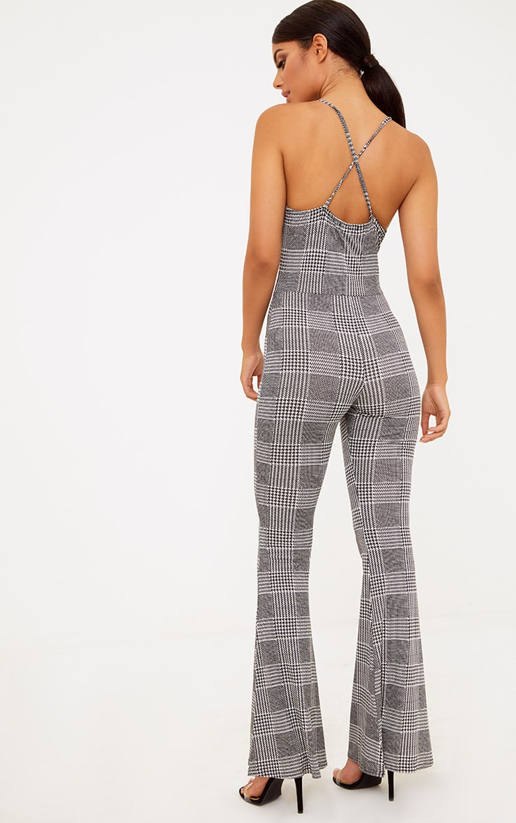 Black Check Flare Leg Jumpsuit 4