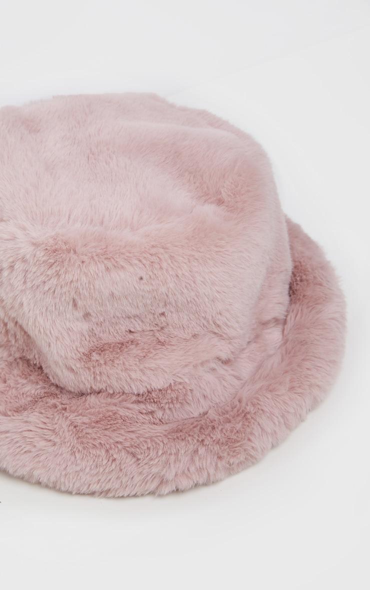 Pink Faux Fur Bucket Hat 3