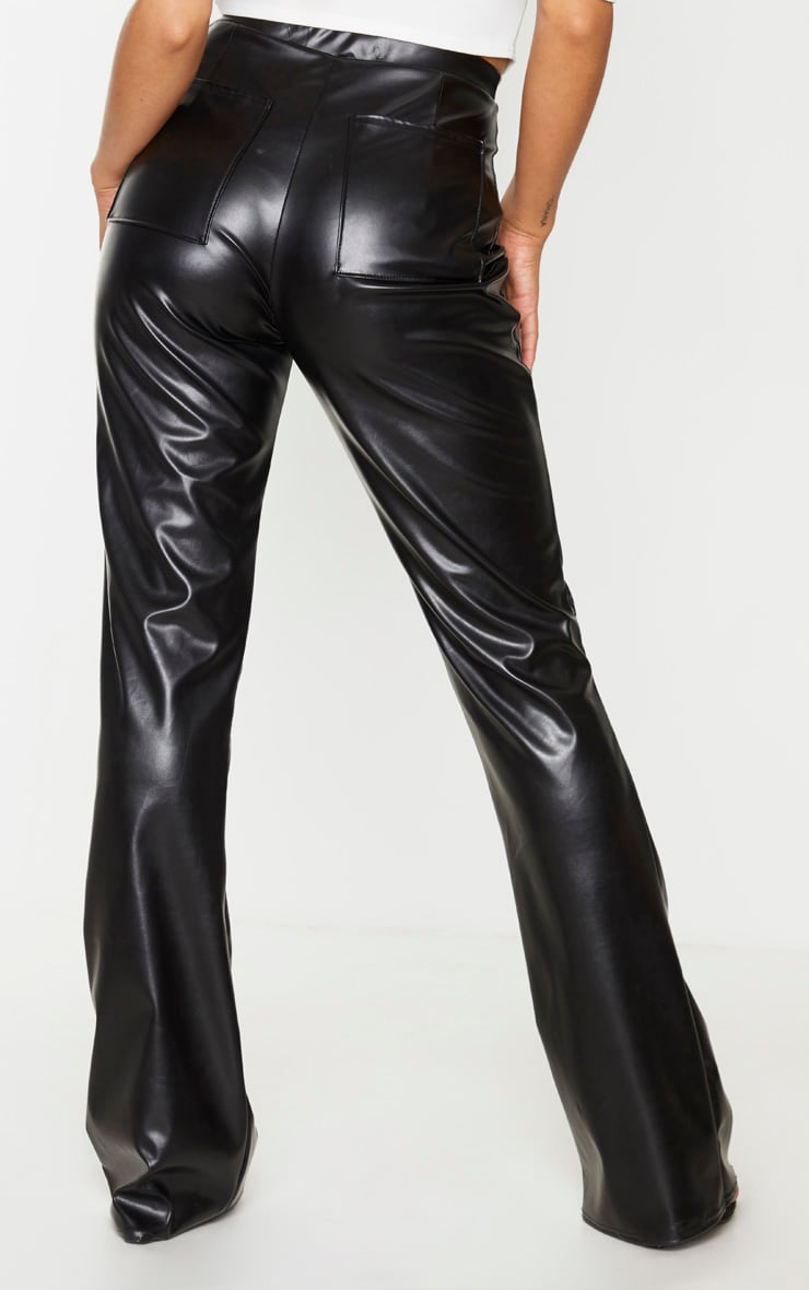 Black Faux Leather Pocket Flared Trousers 3