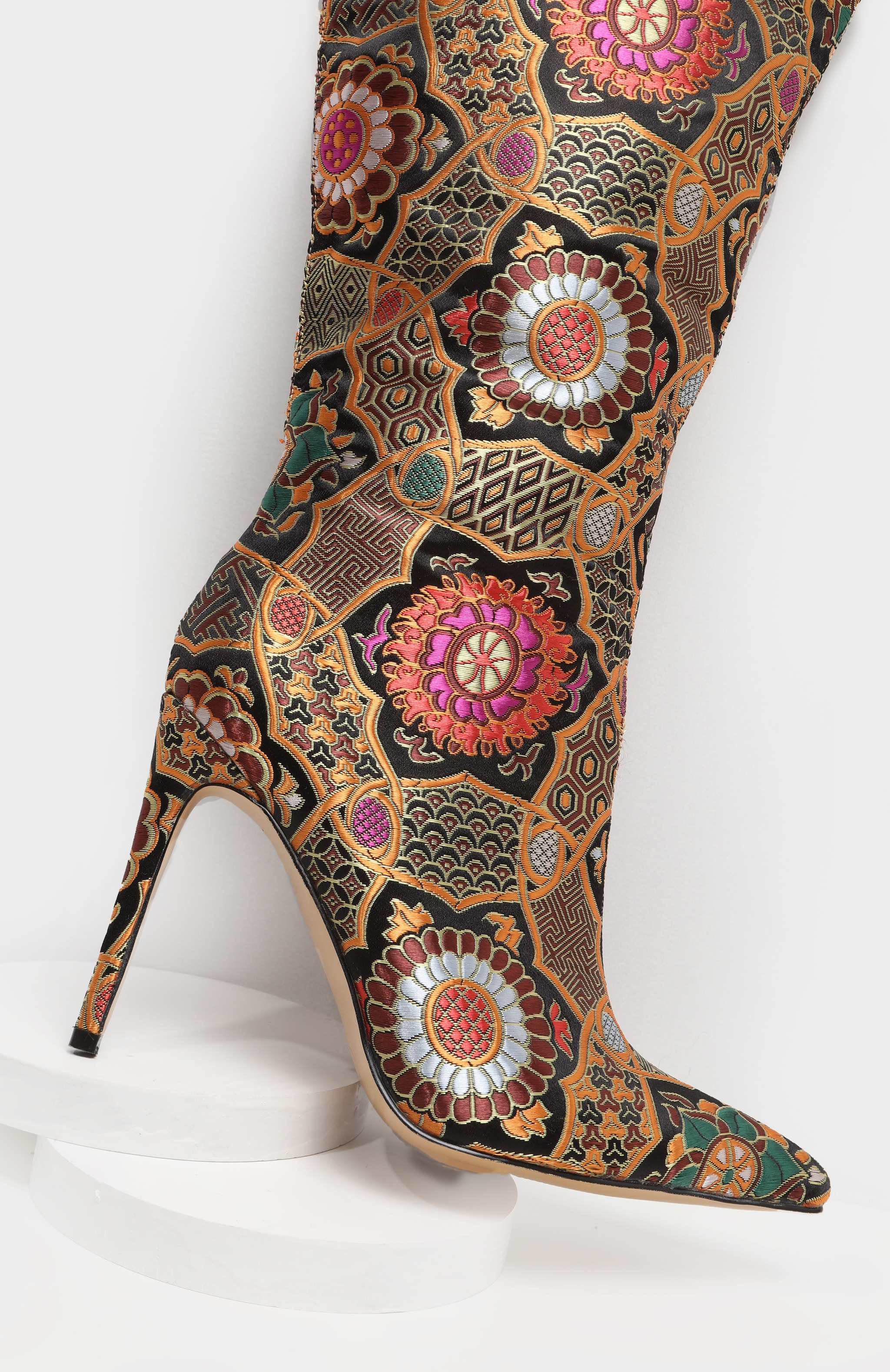 Gold Oriental Brocade Thigh High Boot 6