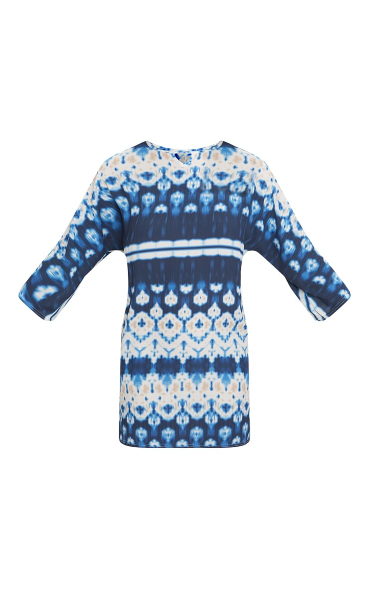 Blue Tie Dye Print Cut Out Detail Shift Dress 3