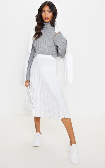 Cream Pleated Floaty Midi Skirt