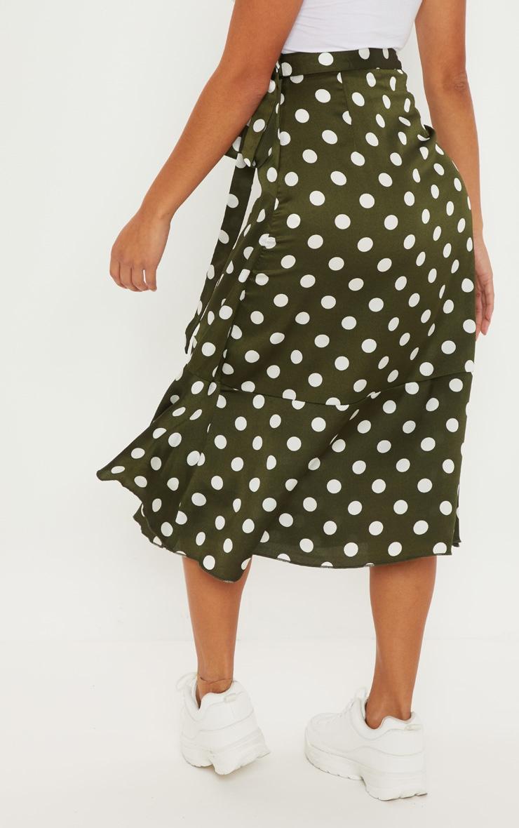 Petite Sage Green Satin Polka Dot Wrap Skirt 4