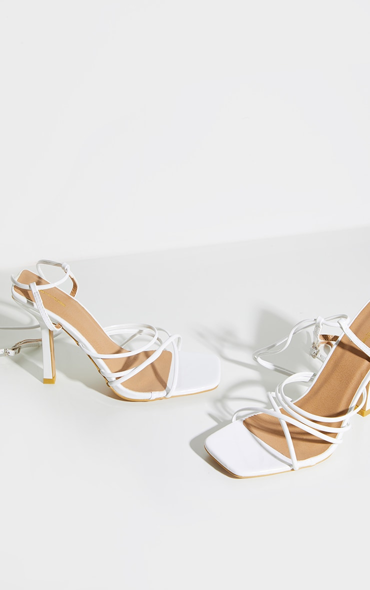 White Squared Strappy Heels 4