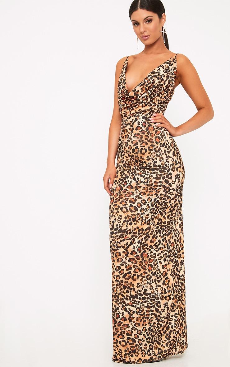 Silva Leopard Print Cowl Neck Maxi Dress 1