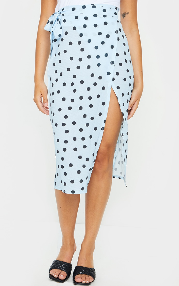 Blue Wrap Around Polka Dot Midi Skirt 2