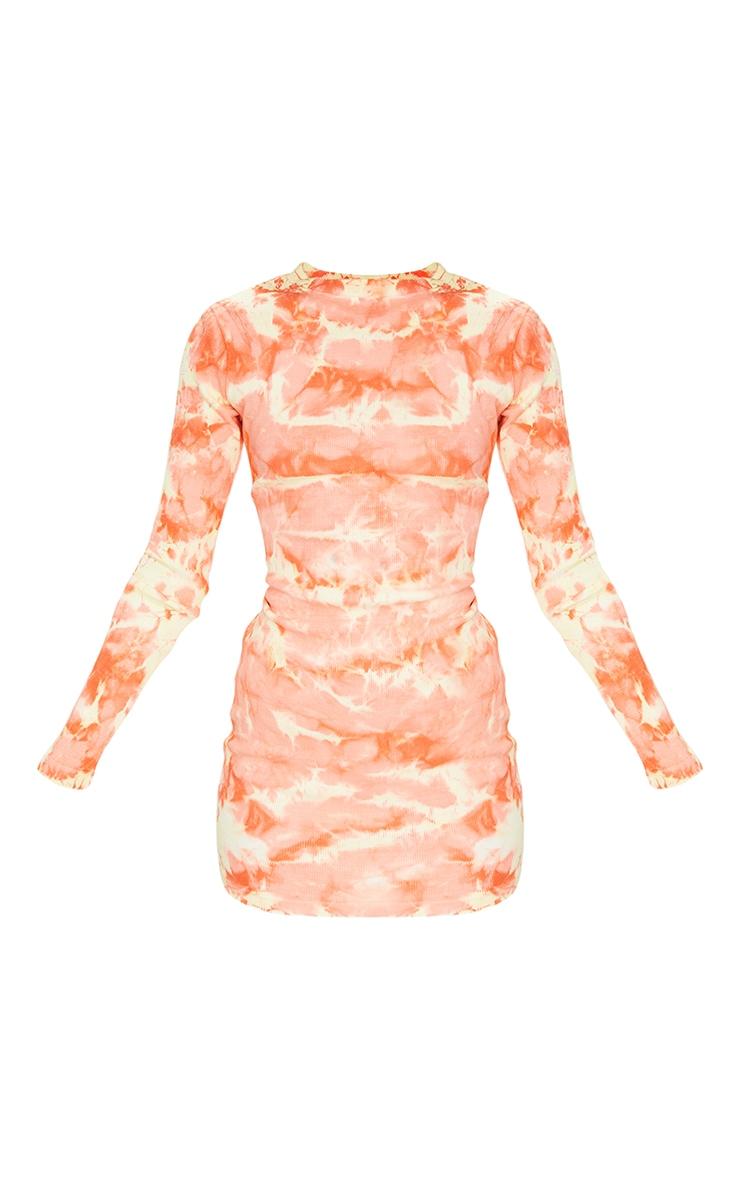 Peach Tie Dye Ribbed Long Sleeve High Neck Bodycon Dress 5
