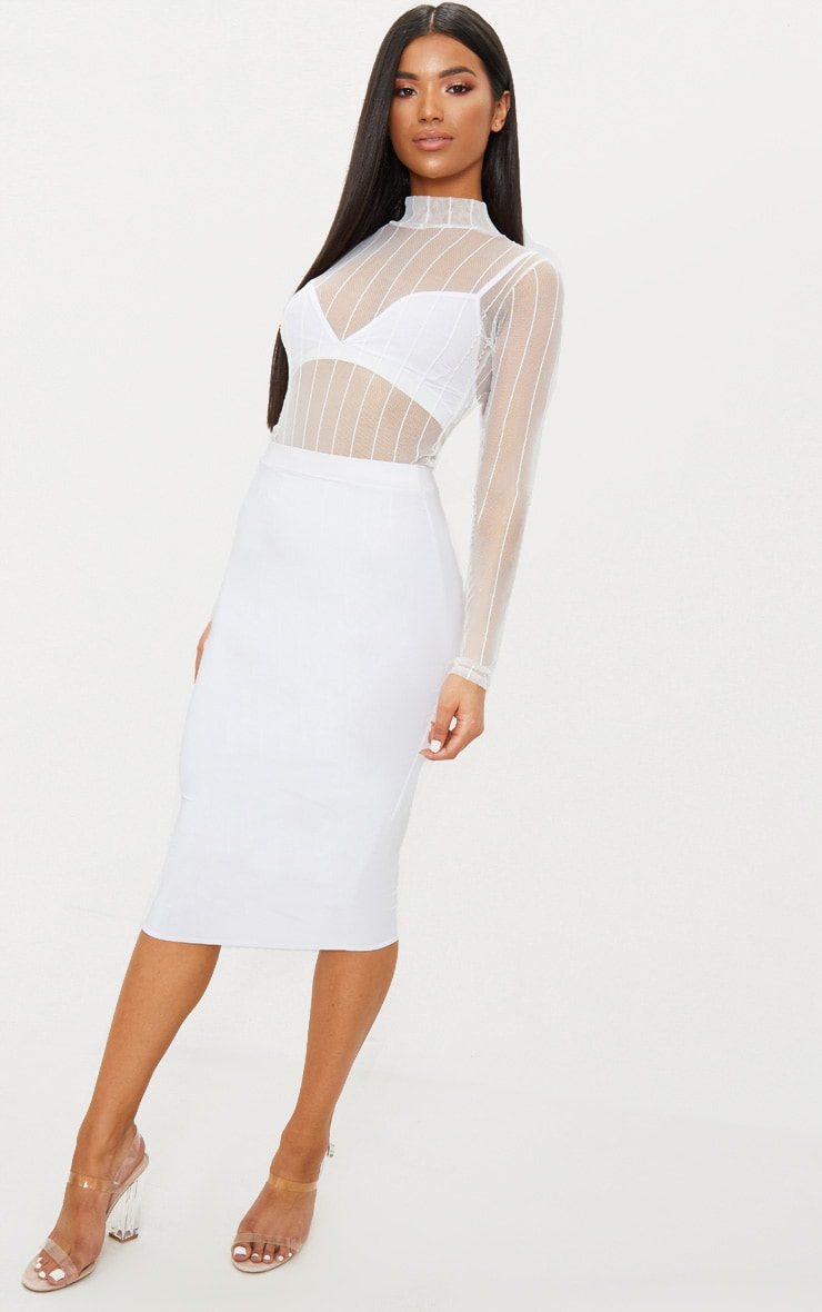 White Mesh High Neck Stripe Thong Bodysuit 2