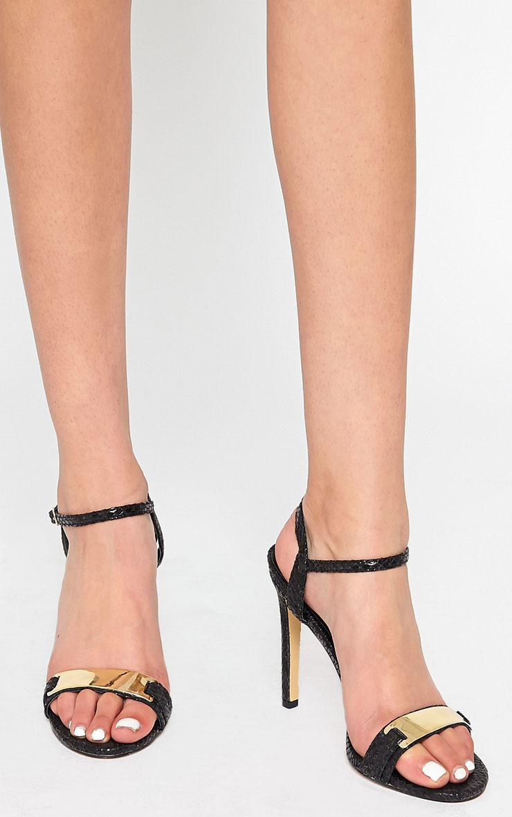 Jamie-Lee Black Gold Detail One Strap Sandals 1