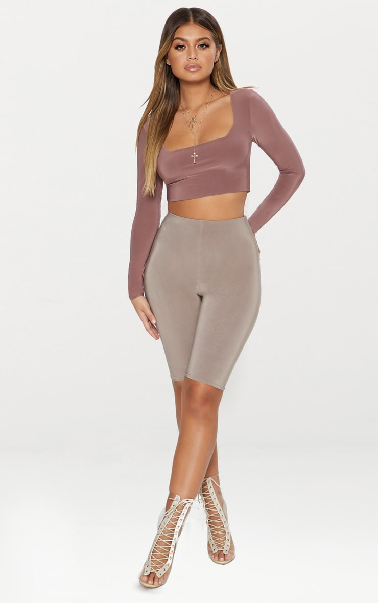 Stone Second Skin Square Neck Long Sleeve Crop Top  4