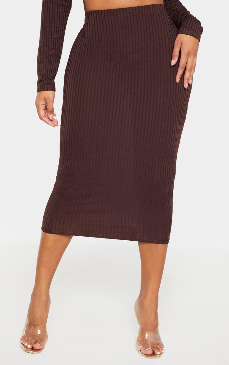 Shape - Jupe taille haute mi-longue marron chocolat côtelée 2