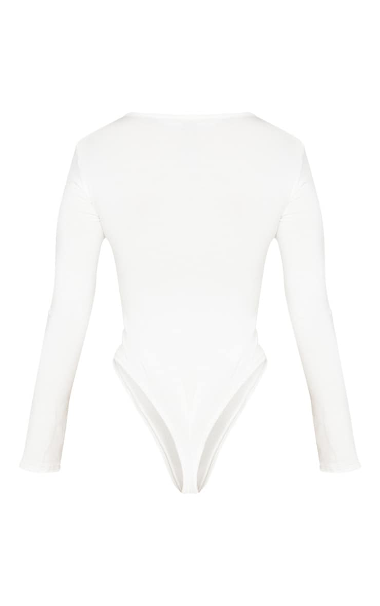 Petite Cream V Neck Basic Bodysuit 4