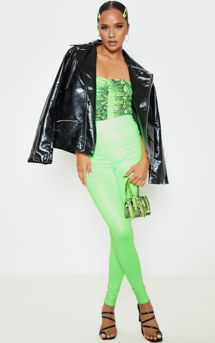 Neon Lime Snake Slinky Ruched Front Strapless Bodysuit  5