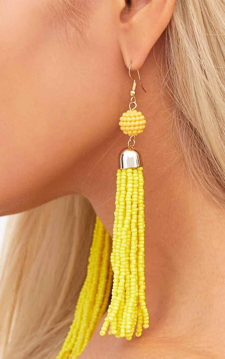 Yellow Beaded Tassel Earrings 4