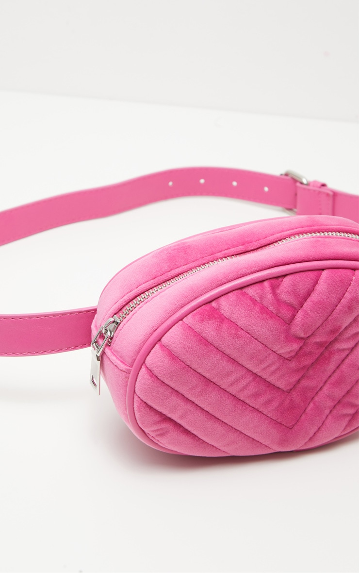 Pink Velvet Chevron Quilted Bum Bag 6