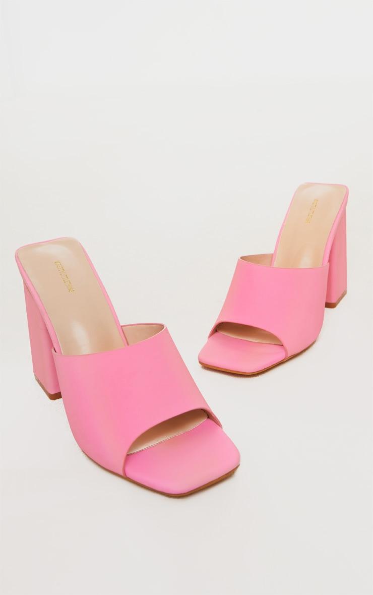 Pink Extreme Reflective Block Heel Mule 3