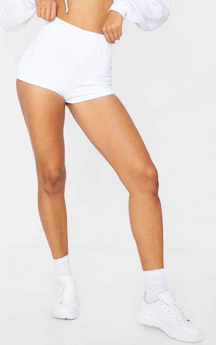 White High Waist Sweat Hot Pants 2