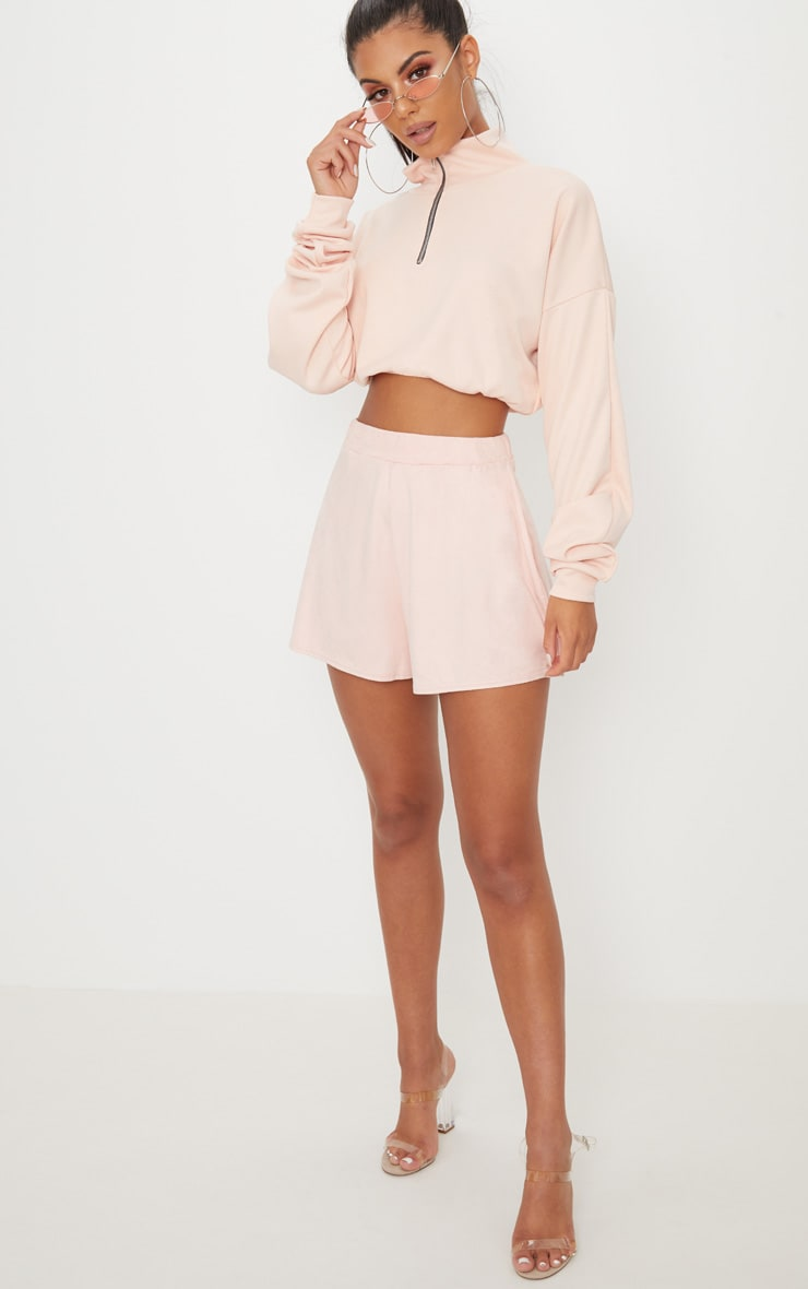 Pale Grey Faux Suede High Waisted Short 5