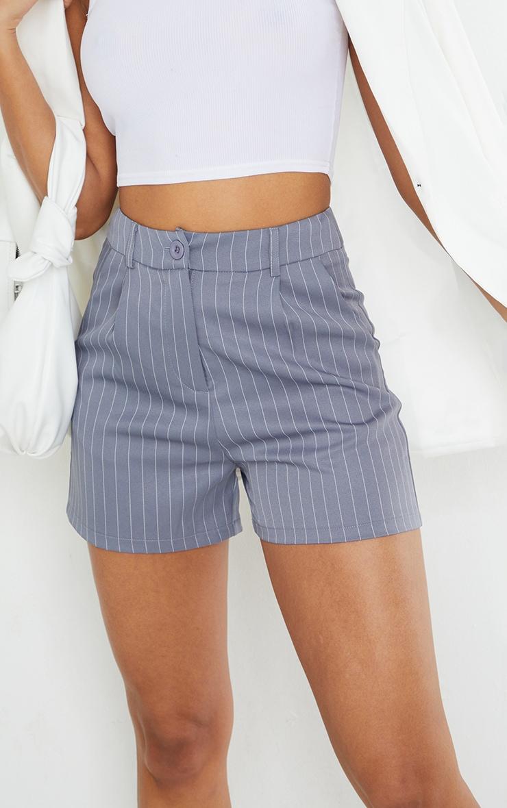 Grey Pinstripe Tailored Shorts 5