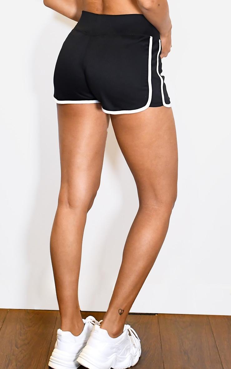 Black Binding Contrast Runner Shorts 3