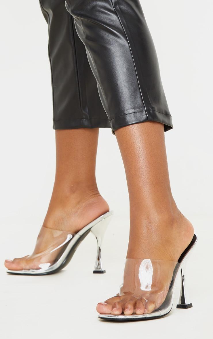Silver Flare Heel Mule Sandal 1