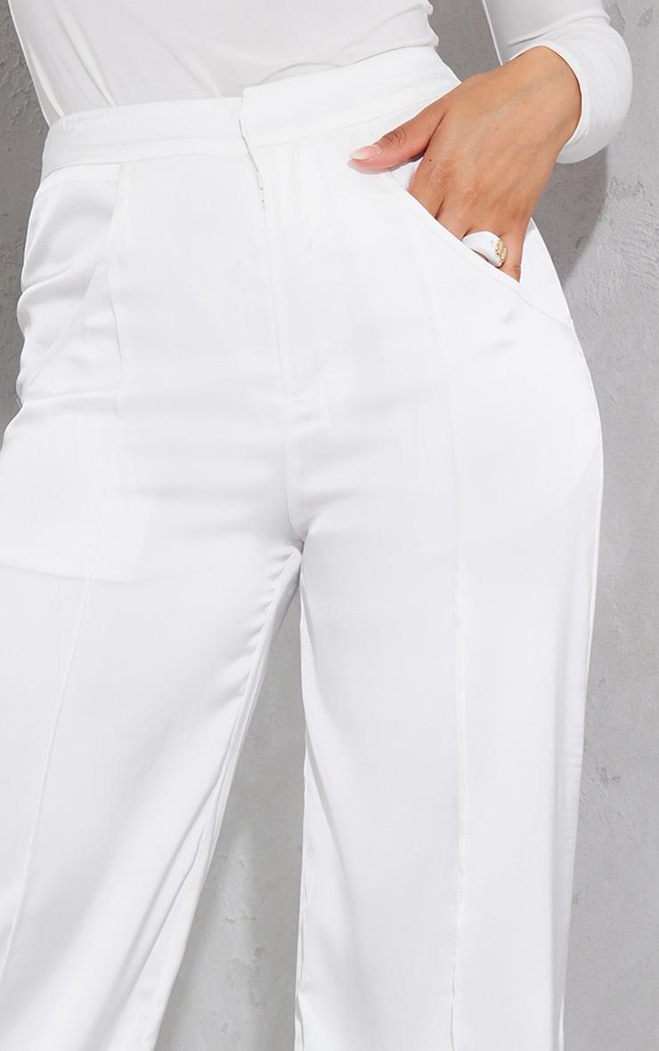 White Satin Pintuck Pocket Detail Wide Leg Pants 4