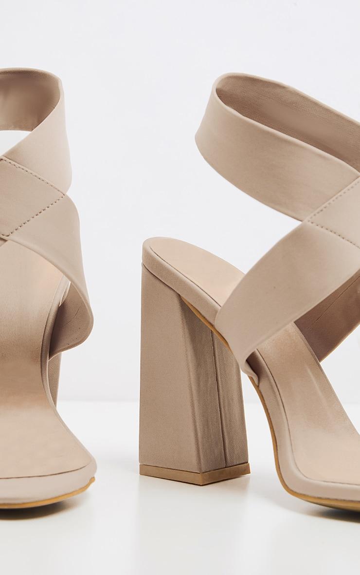 Nude Elastic Block Heel Sandal 4