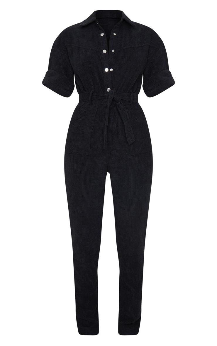 Black Button Front Short Sleeve Cord Jumpsuit 5