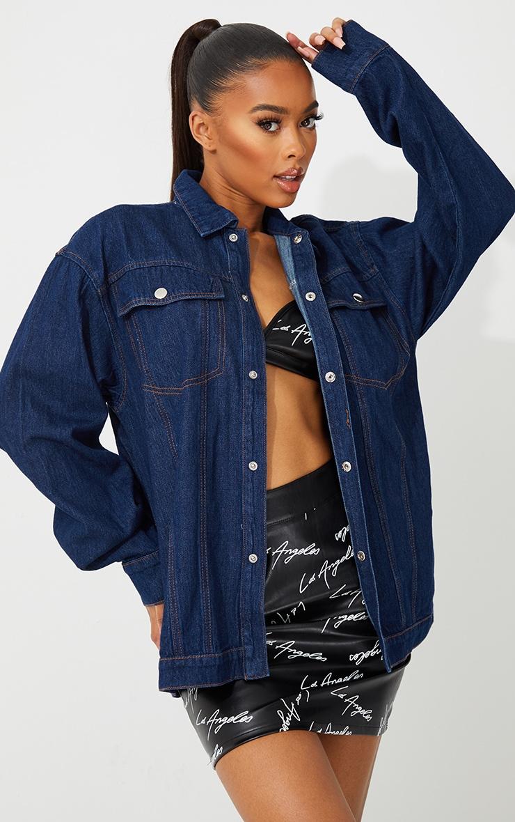 Dark Blue Wash Oversized Denim Jacket 3